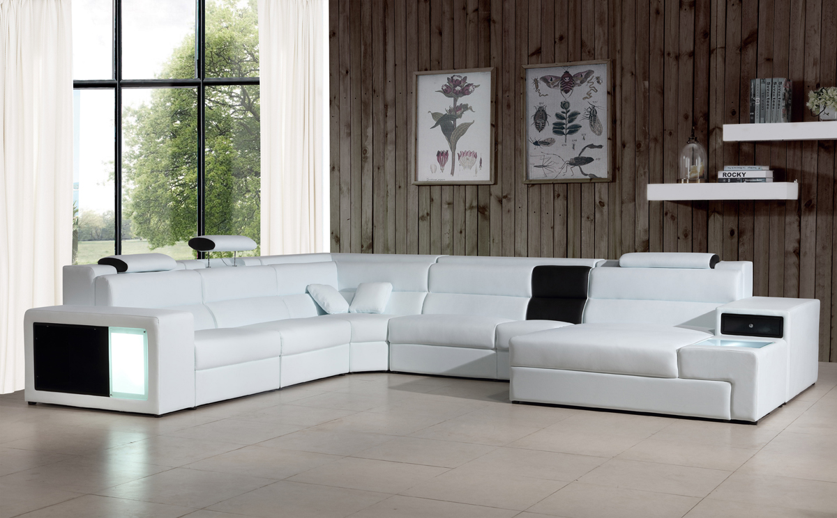 VIG Furniture Divani Casa Polaris Contemporary Bonded Leather Sectional Sofa
