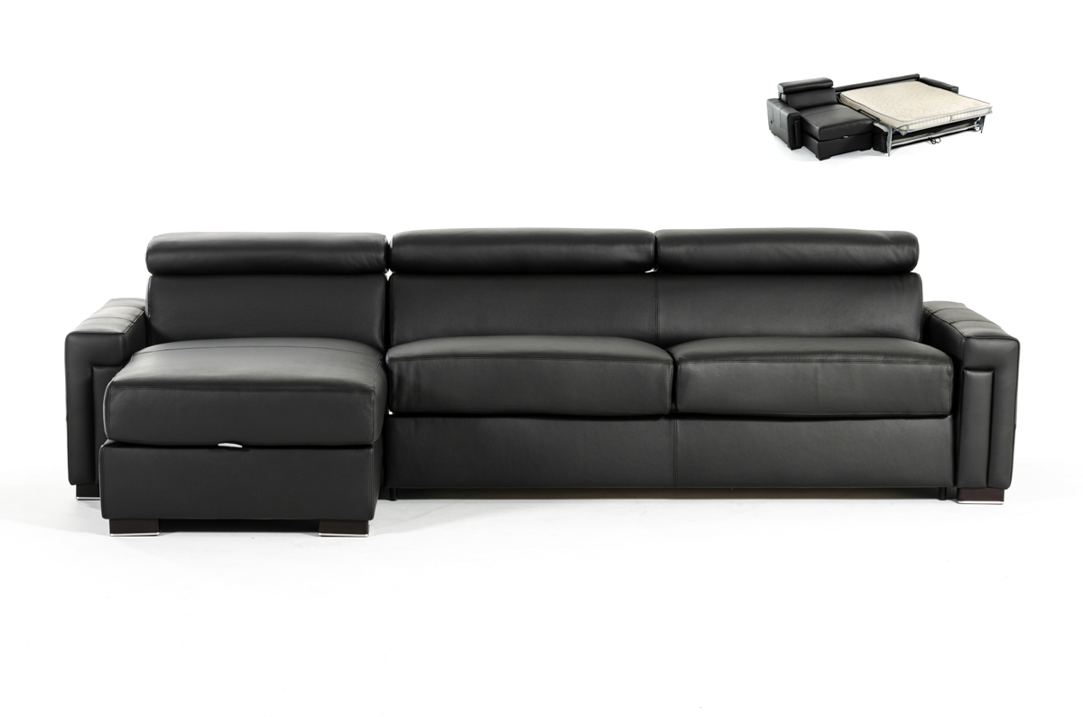 VIG Furniture Estro Salotti Sacha Modern Black Leather Reversible Sofa Bed Sectional with Storage