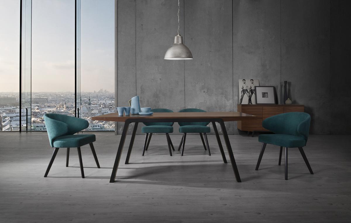 VIG Furniture Modrest Quinn Modern Walnut and Teal Dining Set