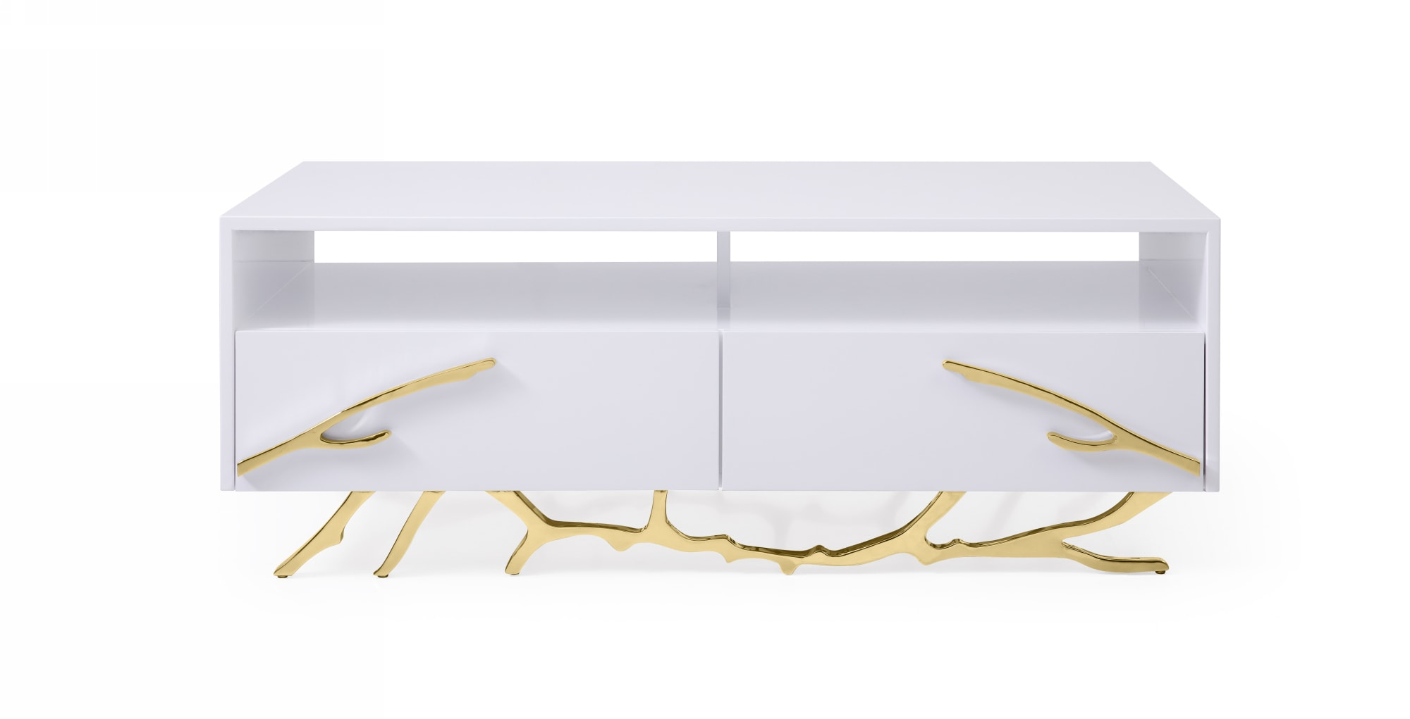VIG Furniture Modrest Legend Modern White and Gold Coffee Table