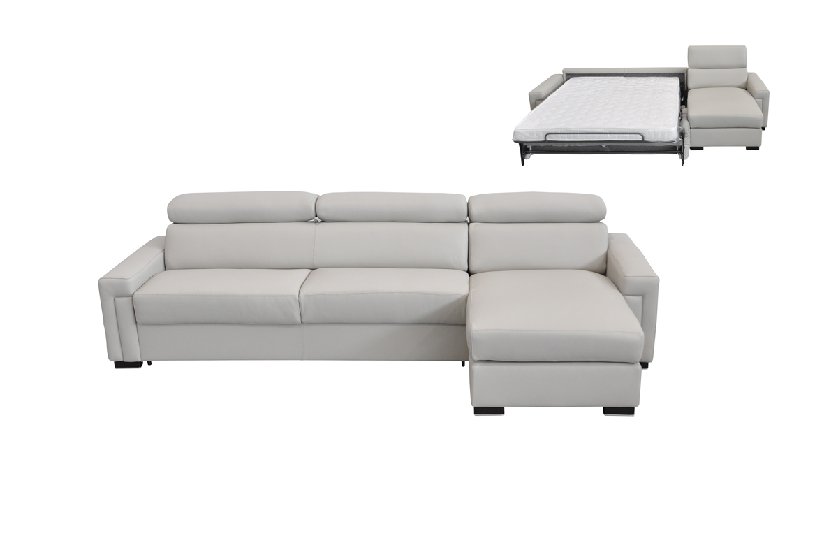 VIG Furniture Estro Salotti Sacha Modern Light Grey Leather Reversible Sofa Bed Sectional with Storage