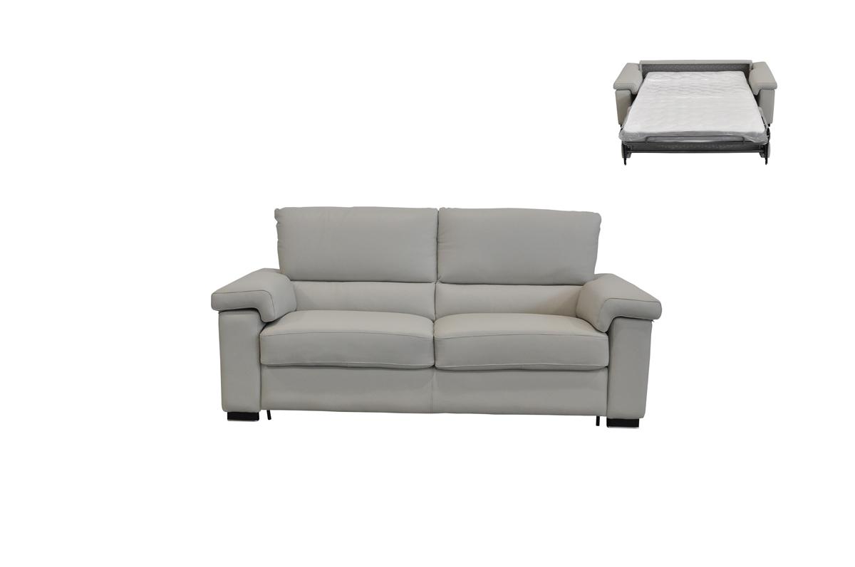 VIG Furniture Estro Salotti Spock Italian Modern Light Grey Leather Sofa Bed