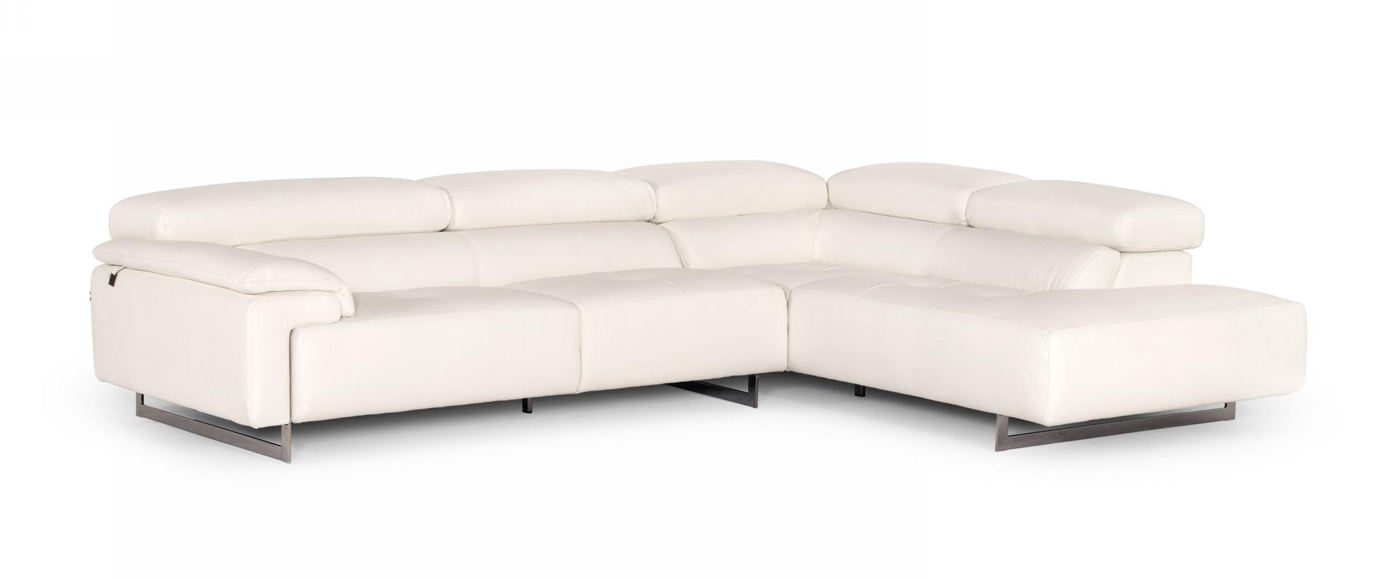 VIG Furniture Estro Salotti Wish Modern White Leather Sectional Sofa