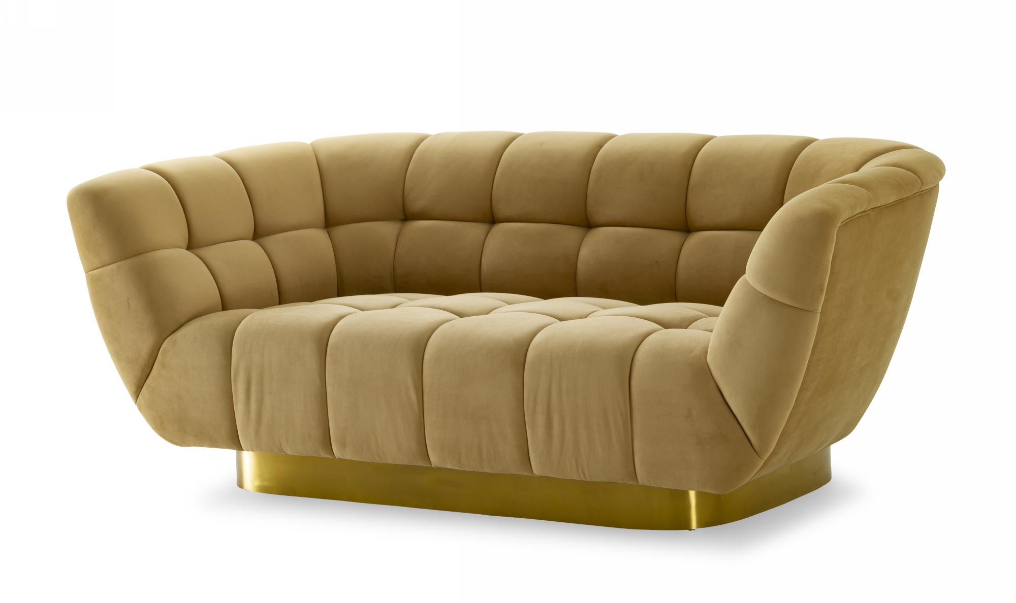 VIG Furniture Divani Casa Granby Glam Mustard and Gold Fabric Loveseat