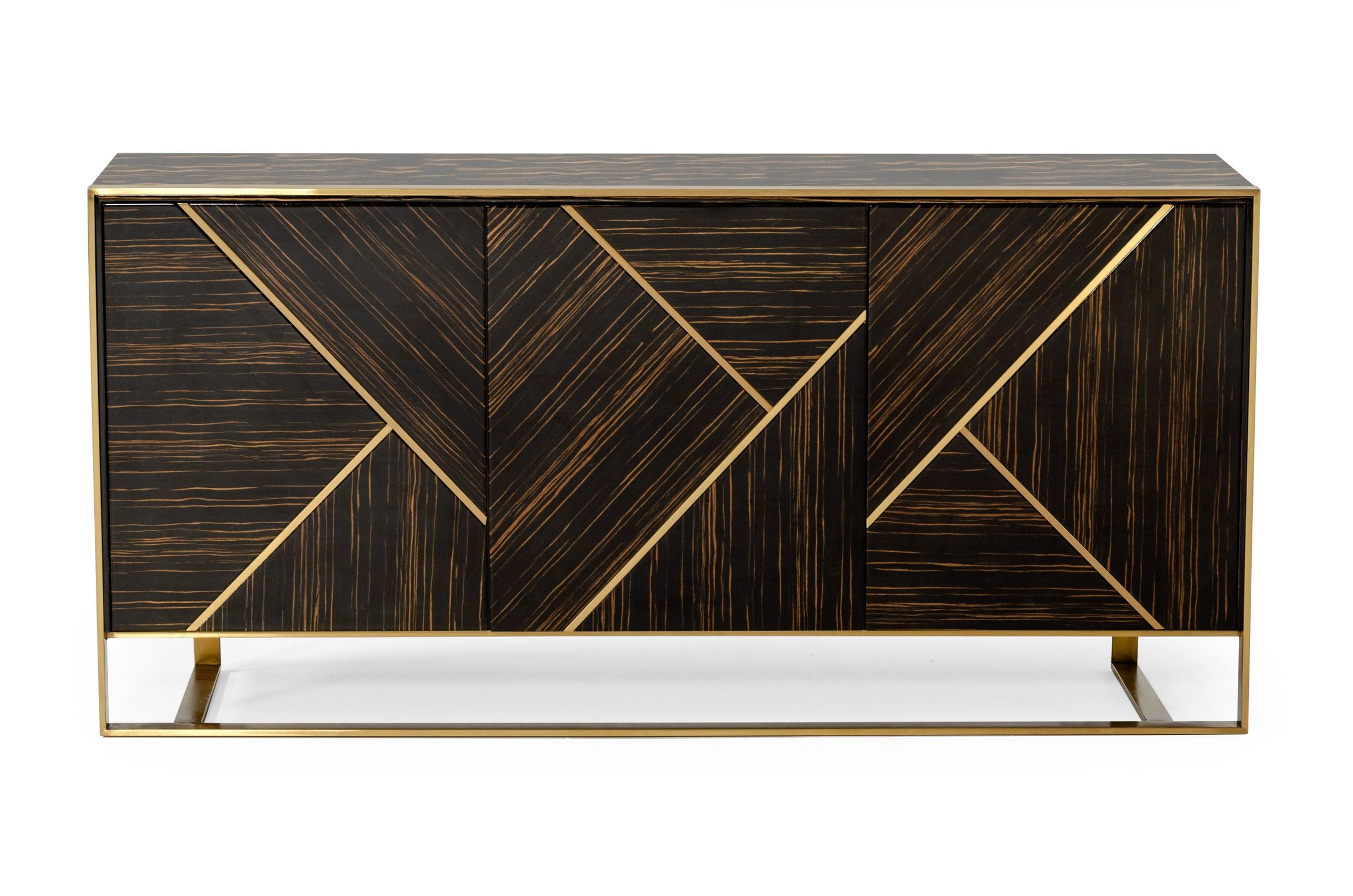 VIG Furniture Modrest Nolte Glam Black Zebrawood and Gold Buffet