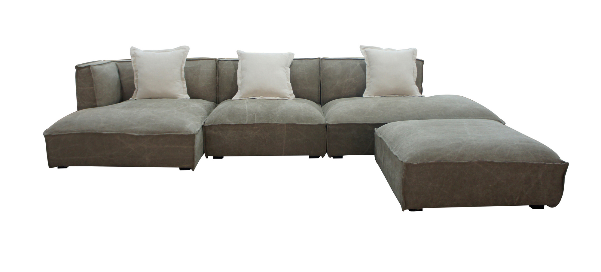 VIG Furniture Divani Casa Dania Modern Beige Fabric Sectional and Ottoman