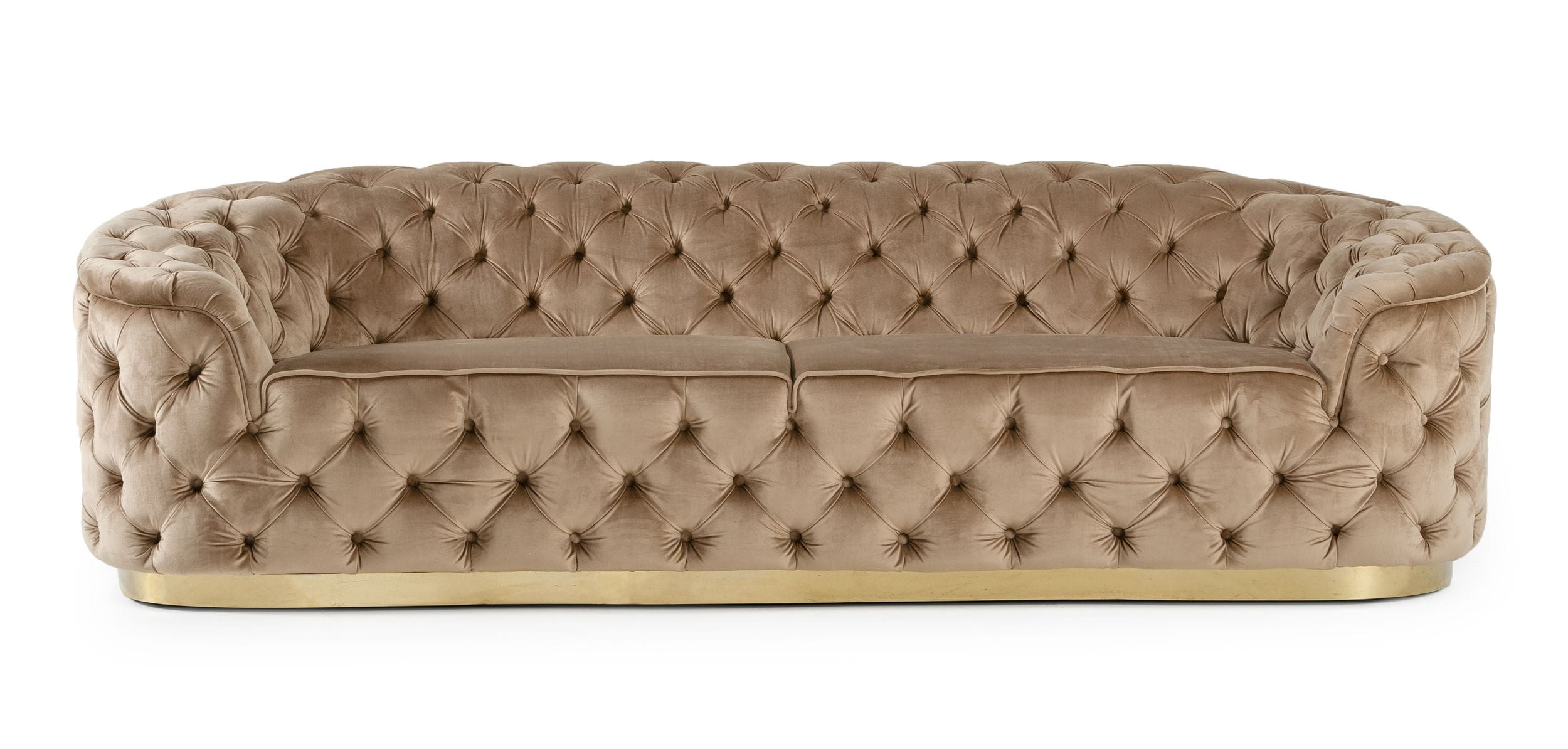 VIG Furniture Divani Casa Murdoch Glam Beige and Gold Fabric Sofa