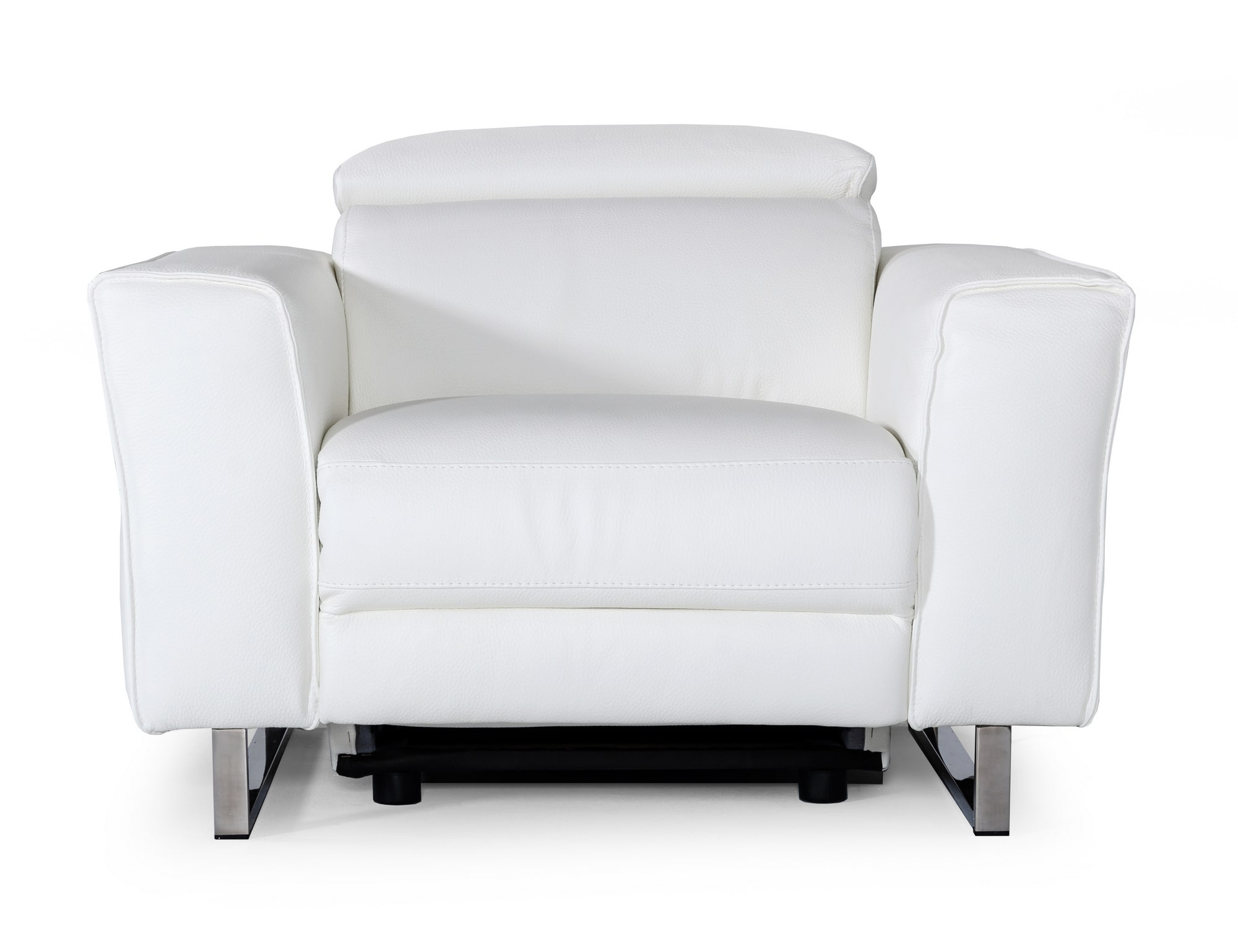 VIG Furniture Accenti Italia Lucca Italian Modern White Leather Armchair with Electric Recliner