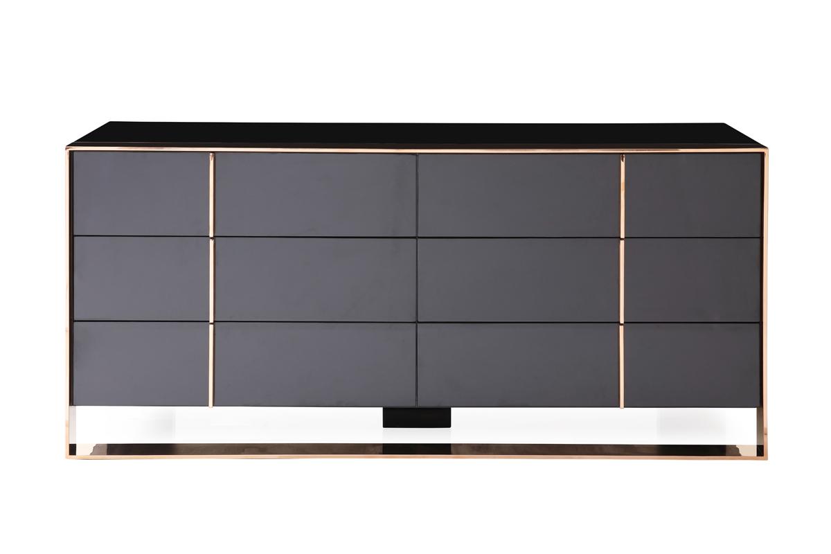 VIG Furniture Nova Domus Cartier Modern Black and Rosegold Dresser