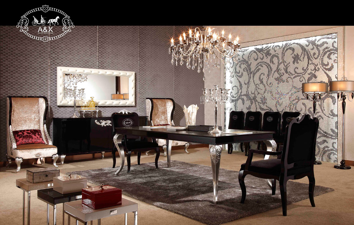VIG Furniture A&X Ampir Transitional Black Crocodile Dining Table with Silver Legs