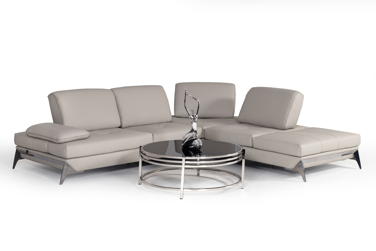 VIG Furniture Nova Domus Andrea Modern Grey Leather Sectional Sofa