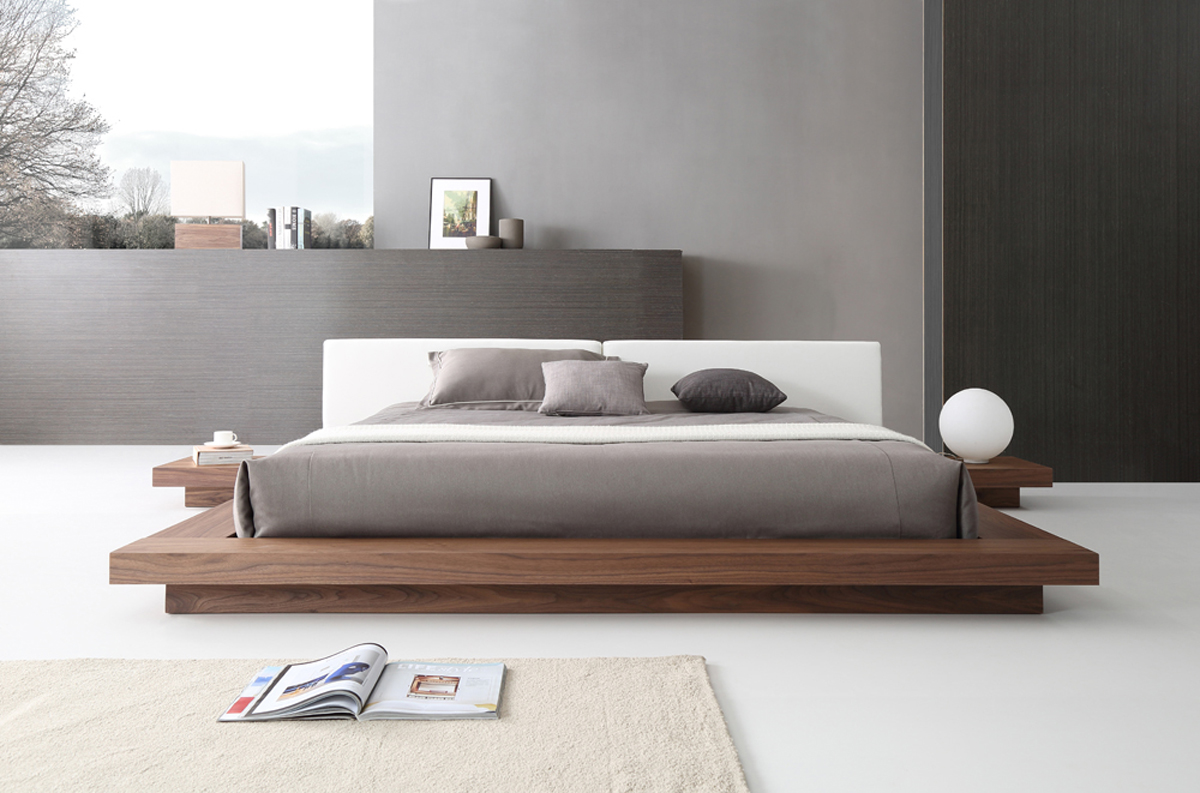 VIG Furniture Modrest Opal Modern Walnut and White Platform Bed