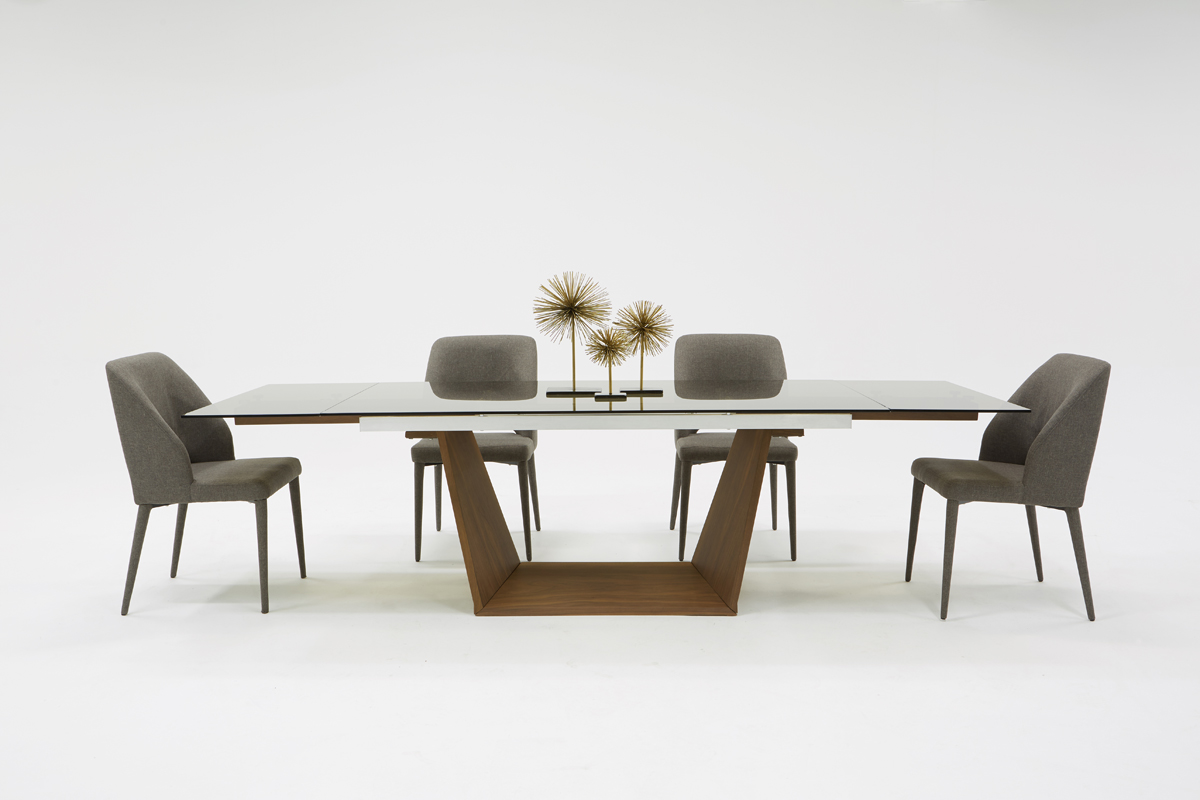 VIG Furniture Modrest Babia Modern Smoked Glass and Walnut Extendable Dining Table