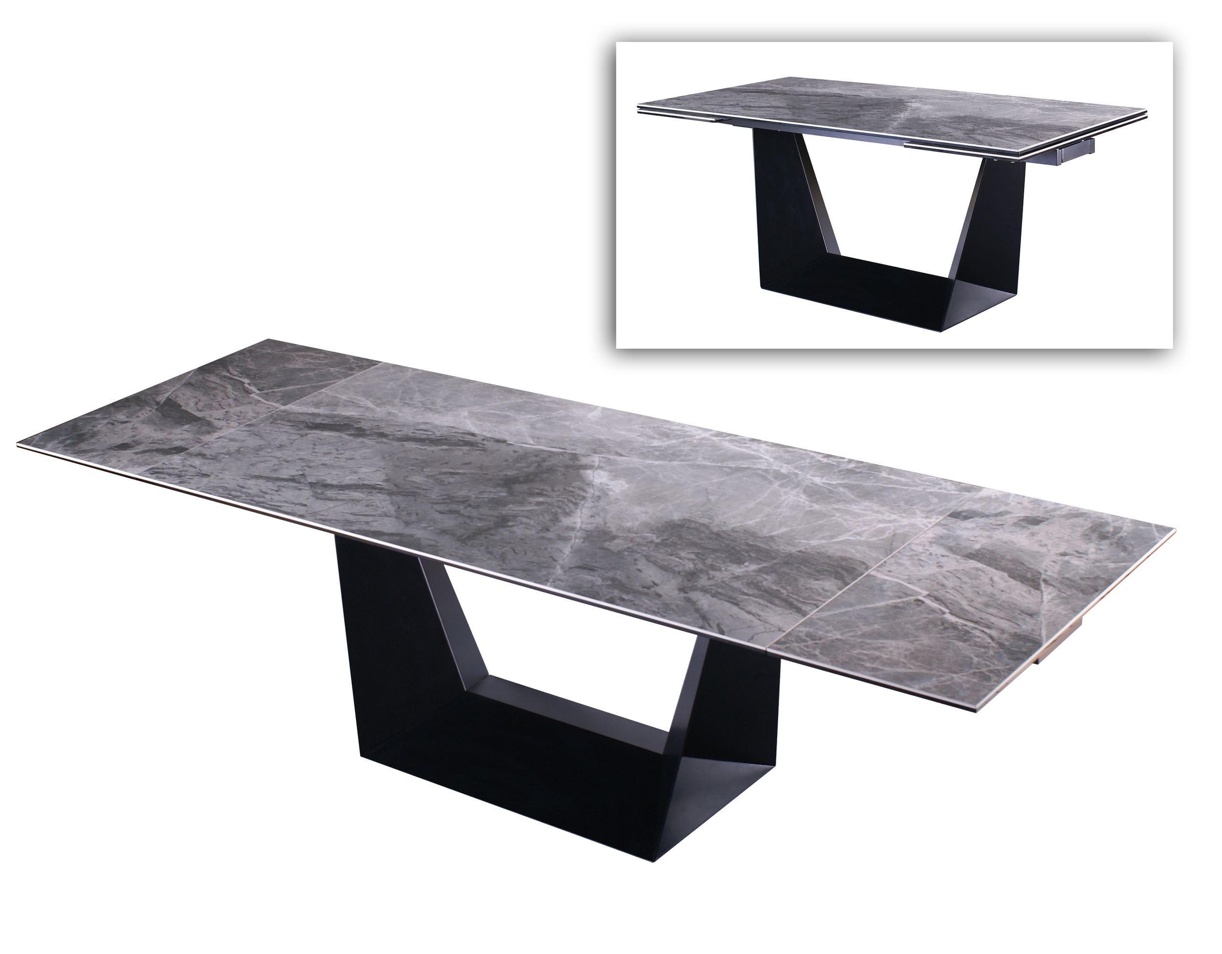 VIG Furniture Modrest Baldwin Modern Grey Ceramic and Black Metal Extendable Dining Table
