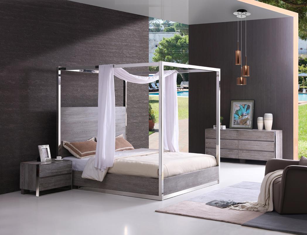 VIG Furniture Modrest Arlene Modern Grey Elm and Stainless Steel Bedroom Set