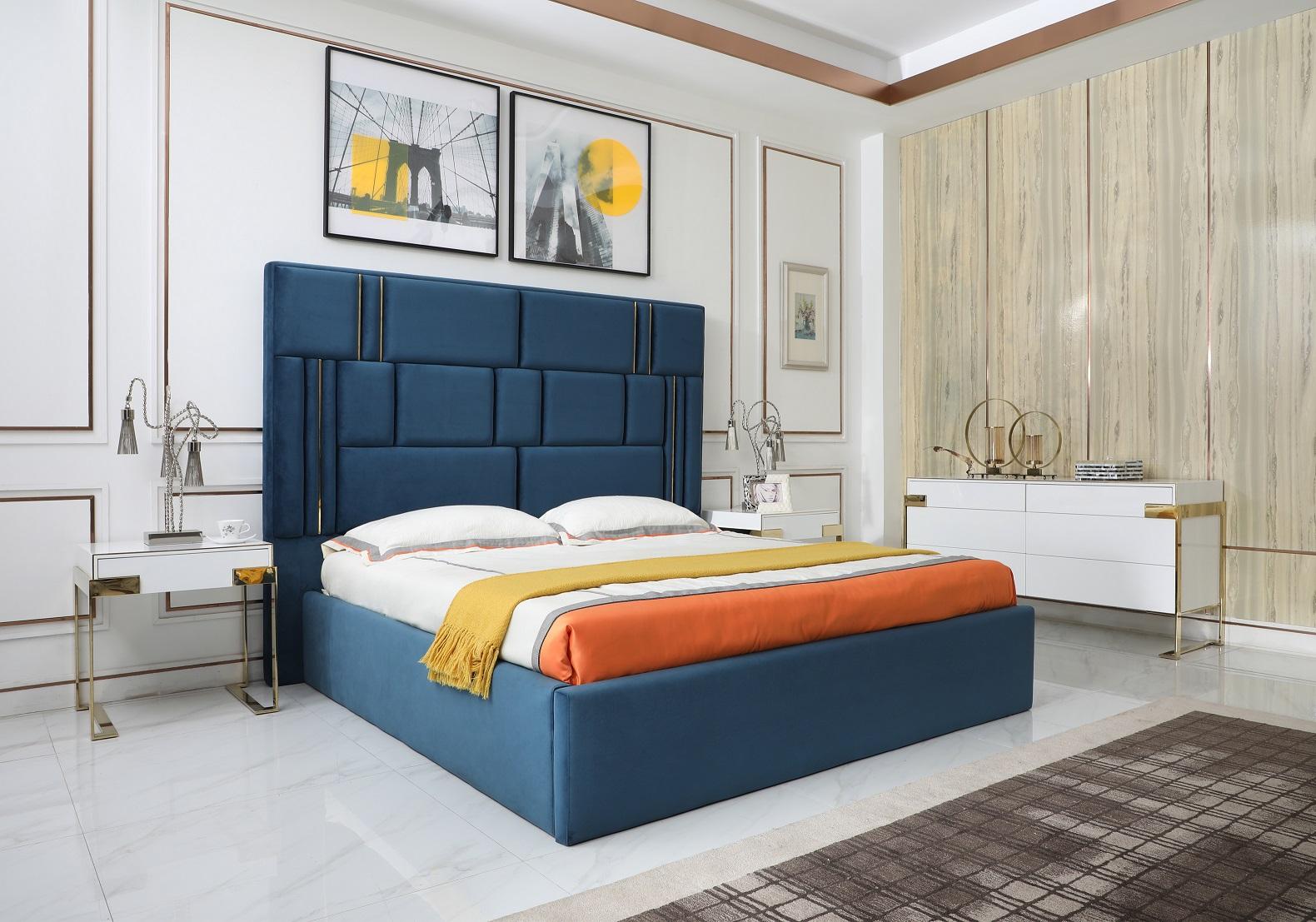 VIG Furniture Modrest Adonis Modern Blue Fabric Bed