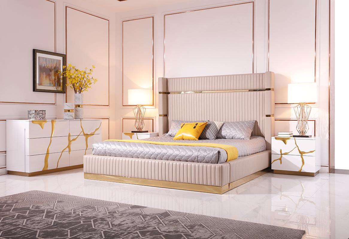 VIG Furniture Modrest Aspen Modern Beige Bonded Leather and Gold Bed