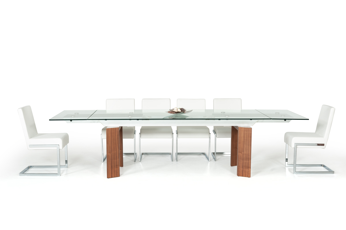 VIG Furniture Modrest Bijou Contemporary Extendable Walnut and Glass Dining Table