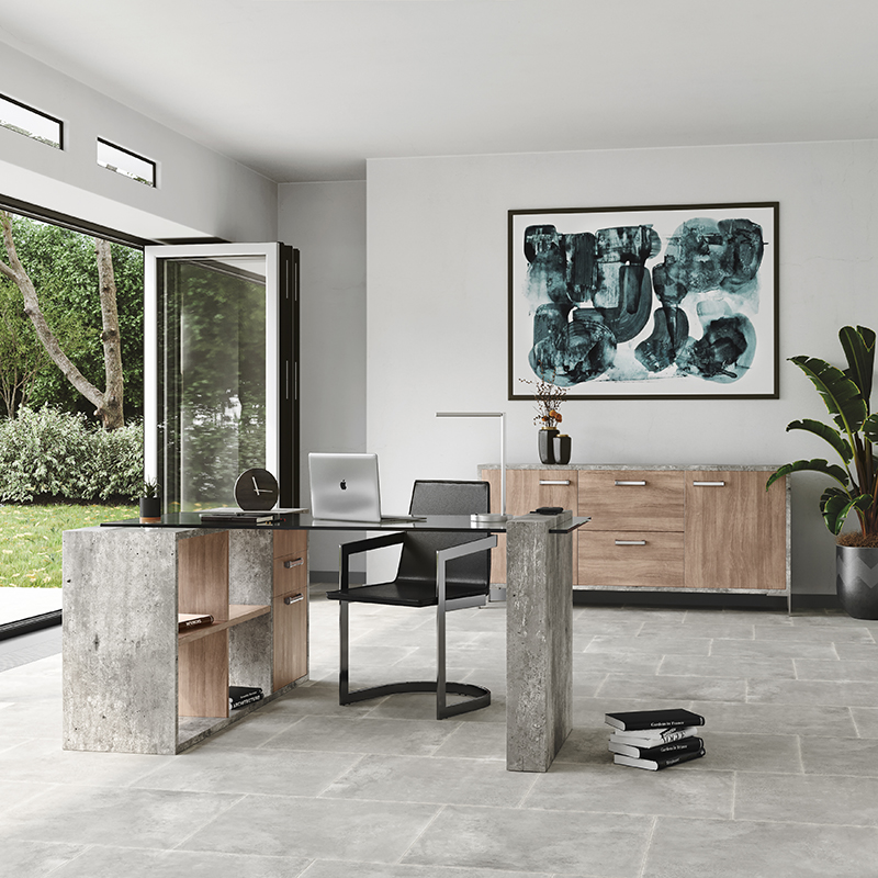 VIG Furniture Nova Domus Boston Modern Glass and Faux Concrete Desk