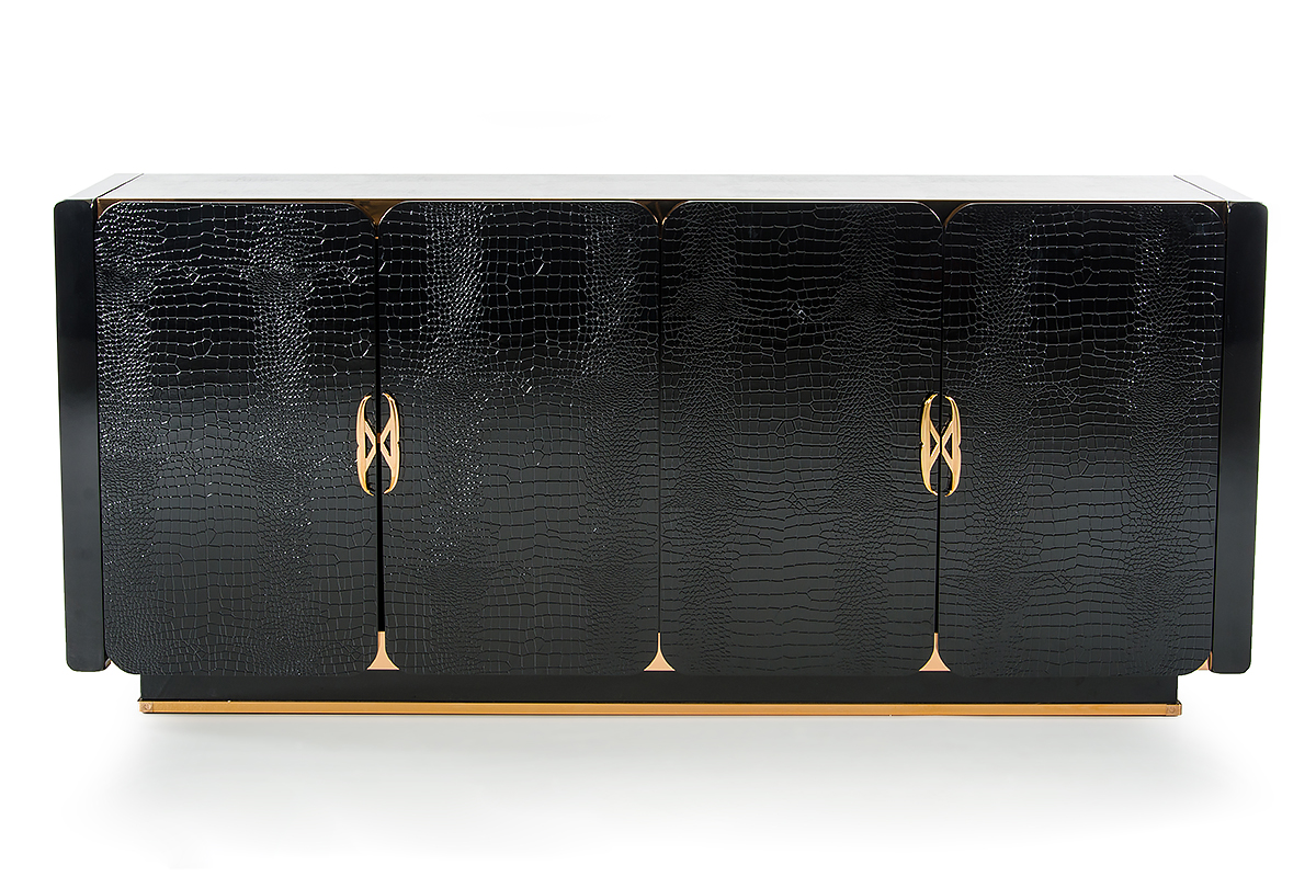VIG Furniture A&X Talin Modern Black Crocodile and Rosegold Buffet