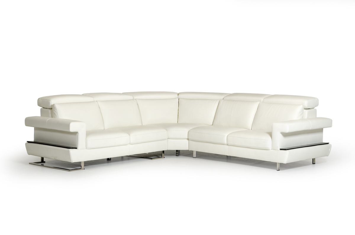 VIG Furniture Estro Salotti Crosby Modern White Italian Leather Sectional Sofa