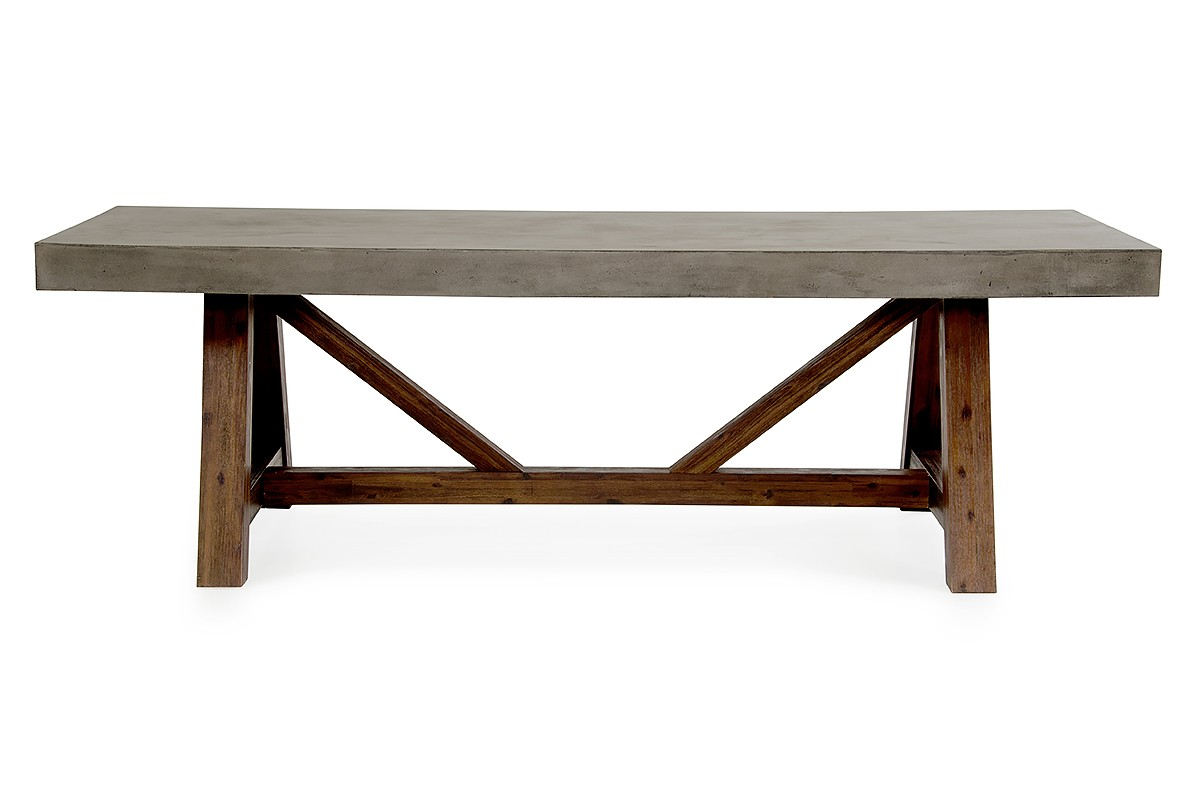 Modrest Revok Modern Concrete Acacia Dining Table - Concrete and metal dining table