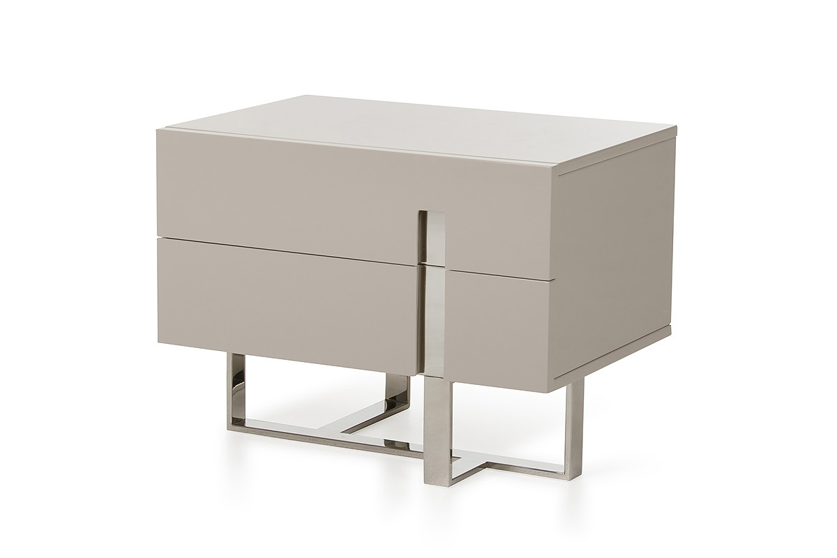 Modrest voco modern grey nightstand nightstands bedroom for Modern bedside tables nightstands