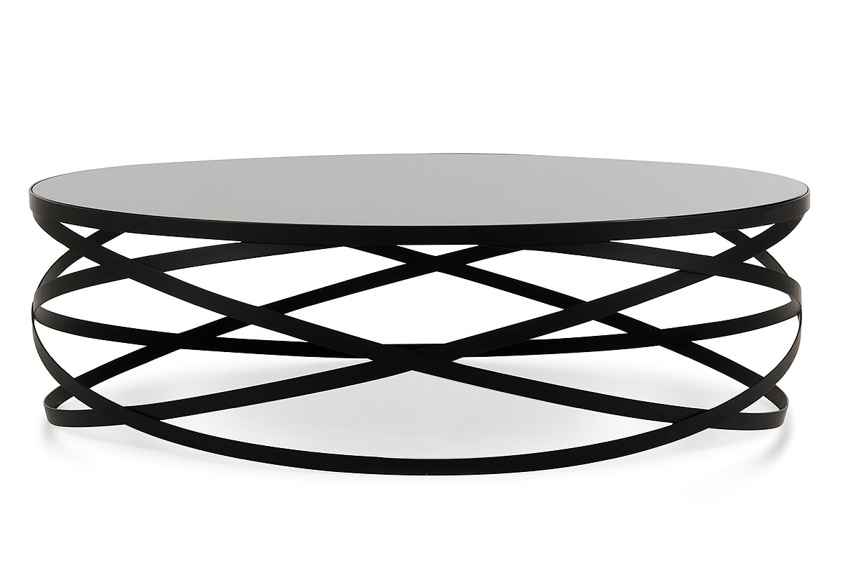 Modrest wixon modern black round coffee table for Black circle coffee table