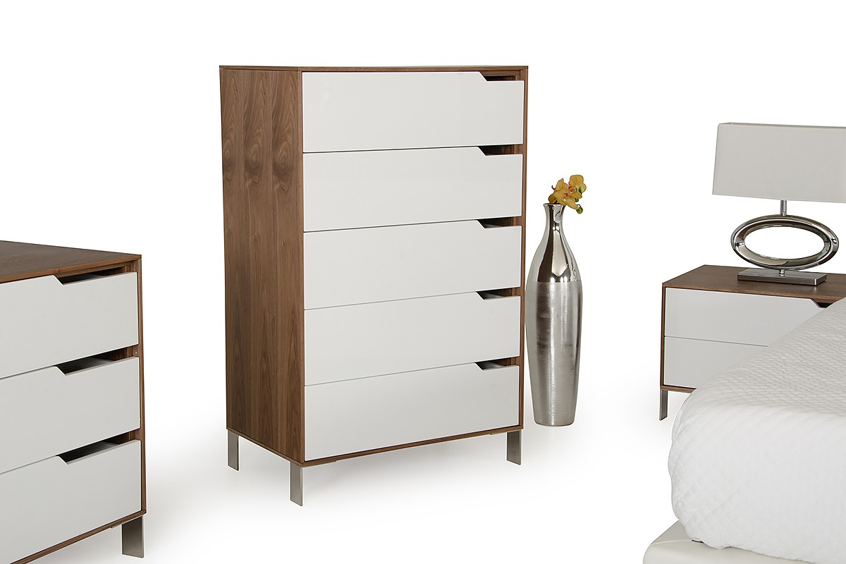 Modrest River Modern White & Walnut Chest - Chests - Bedroom