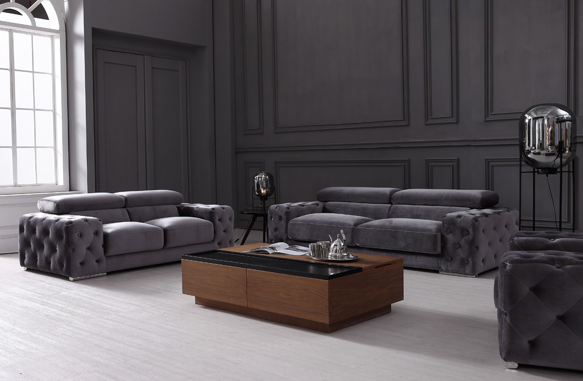 Super Divani Casa Trisha Modern Grey Fabric Sofa Set Camellatalisay Diy Chair Ideas Camellatalisaycom