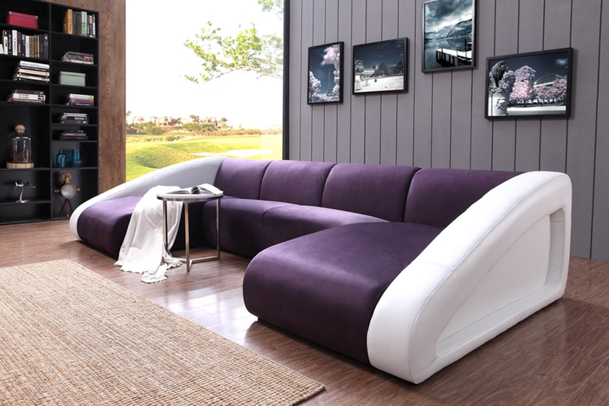 Divani Casa 0916 Modern Purple White Fabric Leather Sectional Sofa