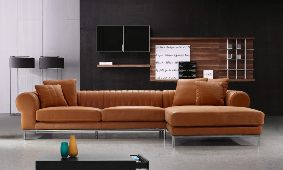 divani casa modern top leather sectional sofa