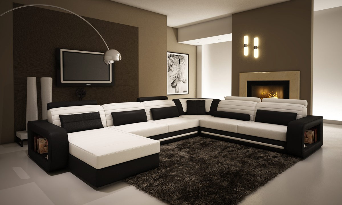 Divani Casa 1005C - Contemporary Black and White Bonded ...