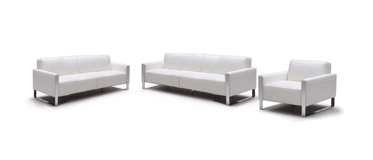 divani casa iris modern white leather sofa set - White Leather Sofa