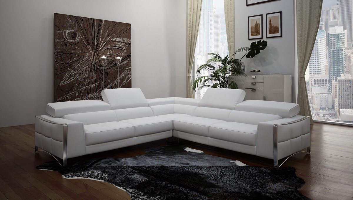 Divani Casa Metz Modern White Bonded Leather Sectional Sofa