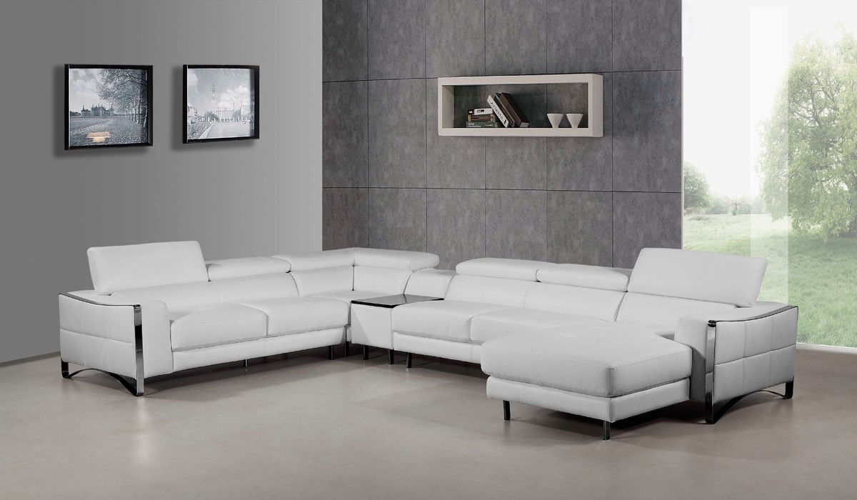 Divani Casa Arles Modern White Leather Sectional Sofa : modern white sectional sofa - Sectionals, Sofas & Couches