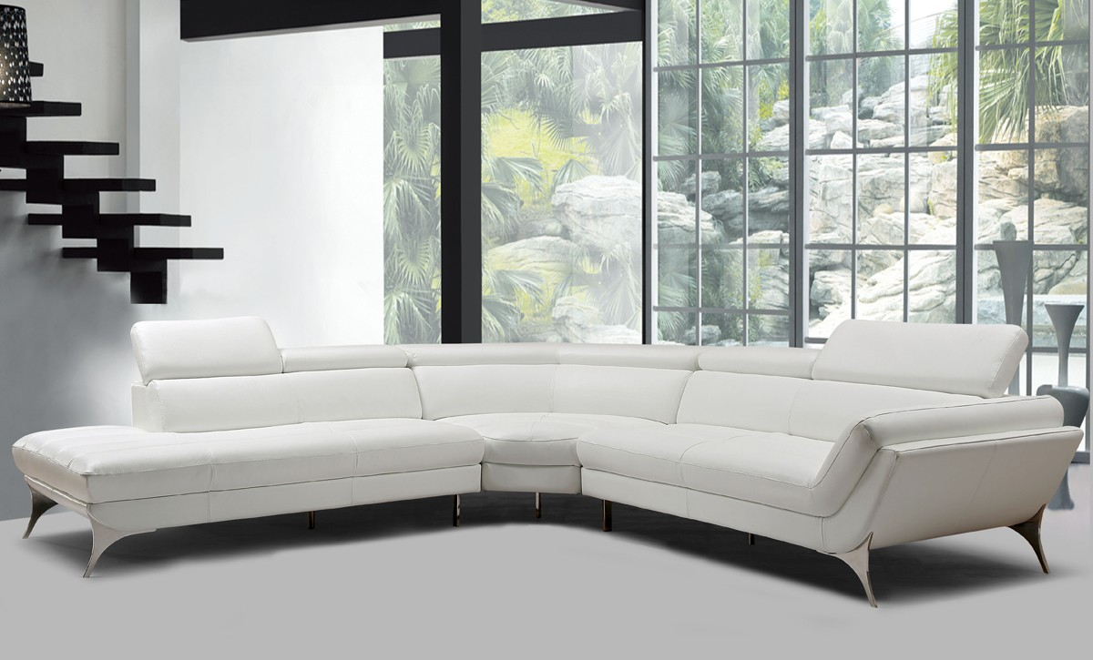 Divani Casa Graphite Modern White Leather Sectional Sofa - Sofas ...