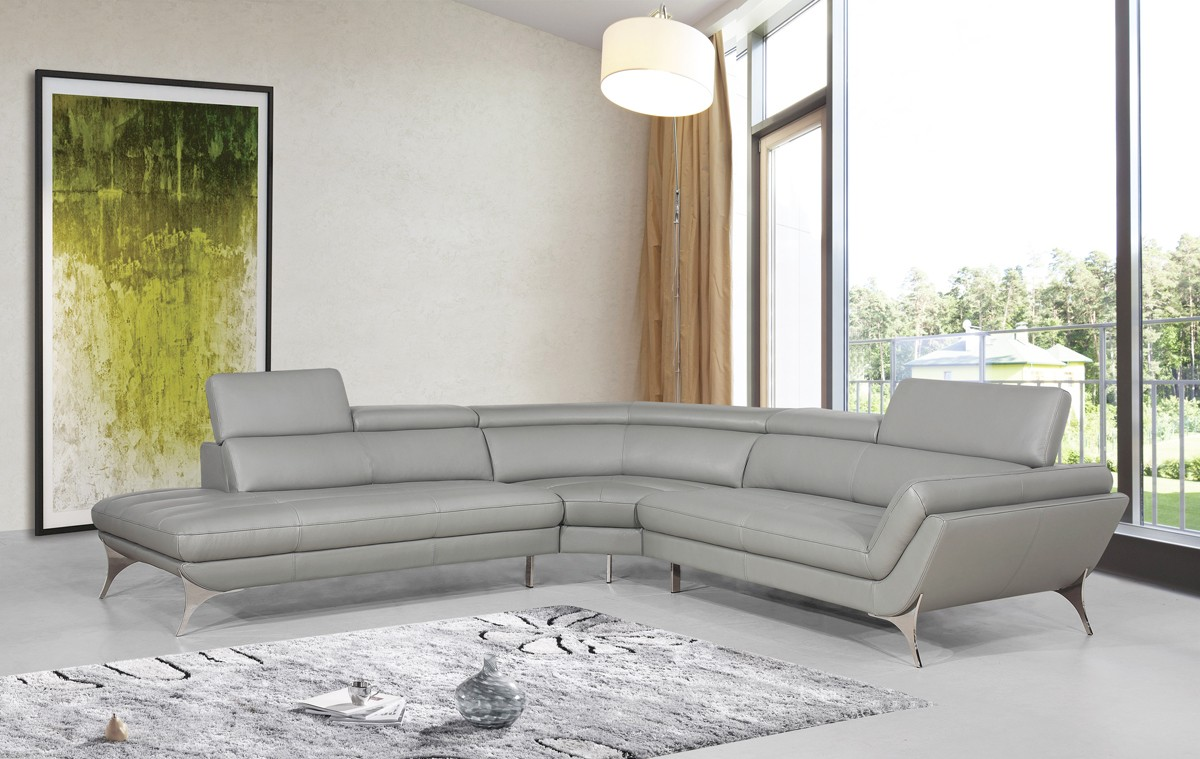 Divani Casa Graphite Modern Grey Leather Sectional Sofa ...