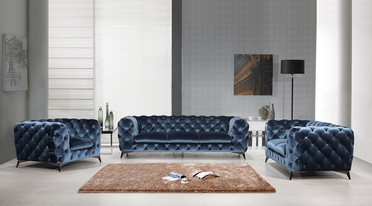 Phenomenal Divani Casa Delilah Modern Blue Fabric Sofa Set Sofas Camellatalisay Diy Chair Ideas Camellatalisaycom