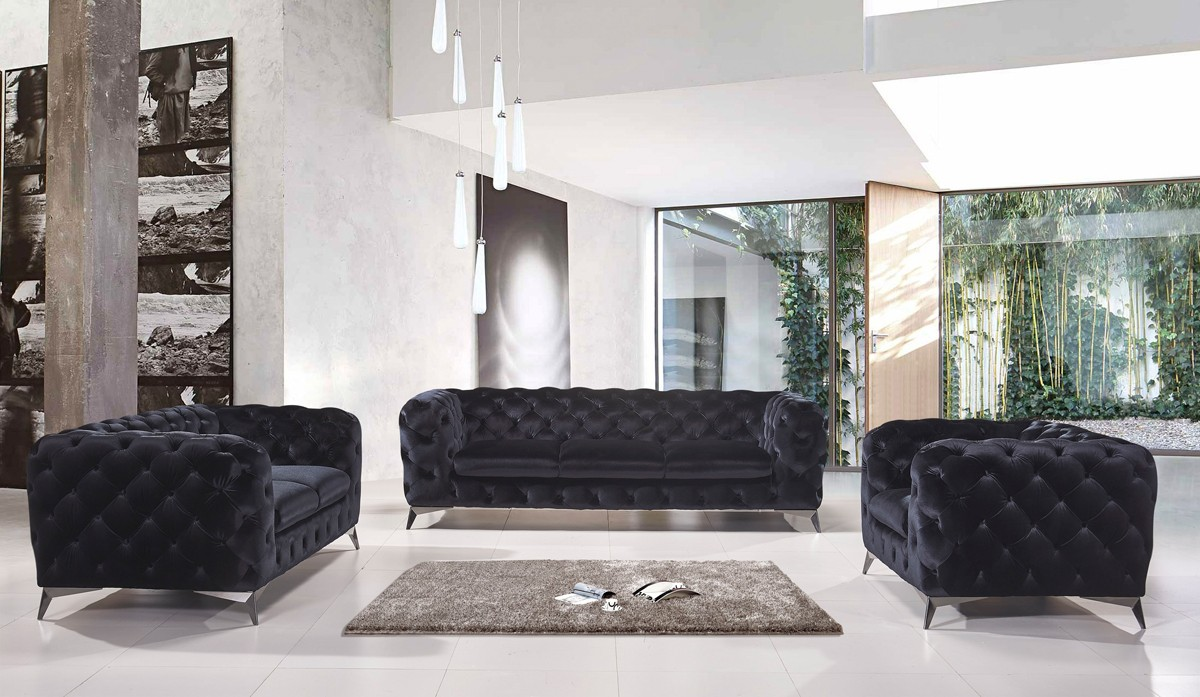Divani casa delilah modern black fabric sofa set for Black fabric couches