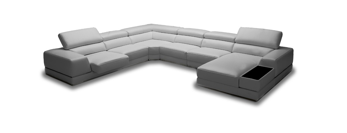Casa Chrysanthemum Modern Grey Eco-Leather Sectional Sofa