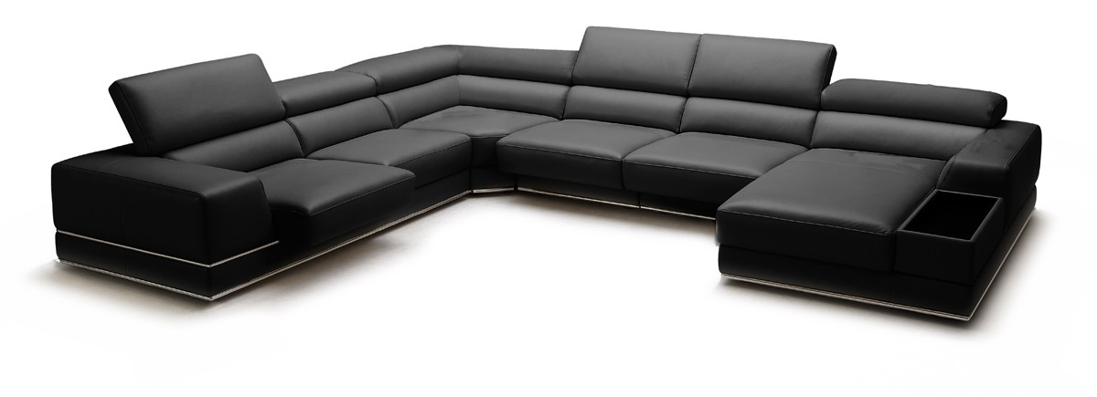 divani casa chrysanthemum modern black leather sectional sofa. Interior Design Ideas. Home Design Ideas