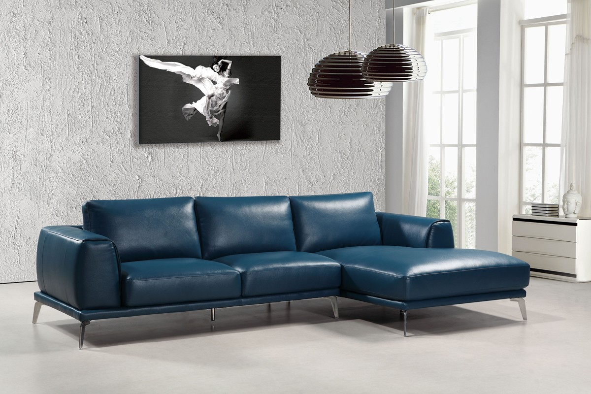 divani casa drancy modern blue bonded leather sectional sofa. Black Bedroom Furniture Sets. Home Design Ideas