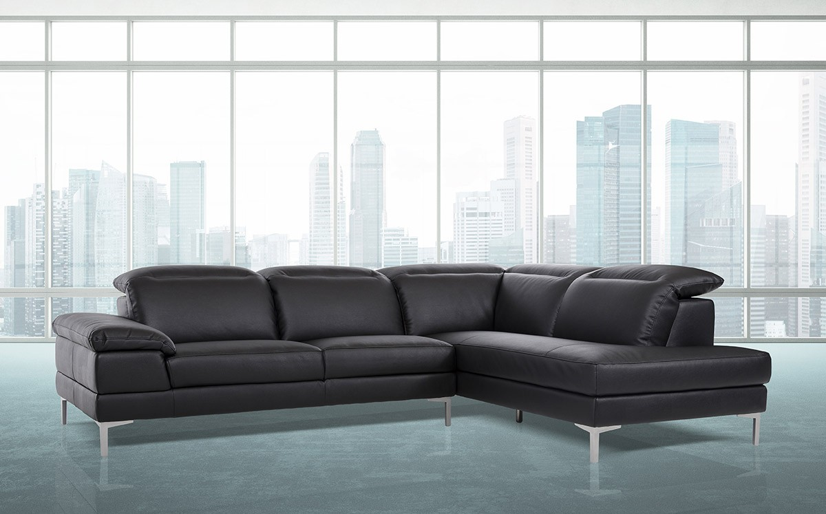 Divani Casa Carnation Modern Black Eco Leather Sectional