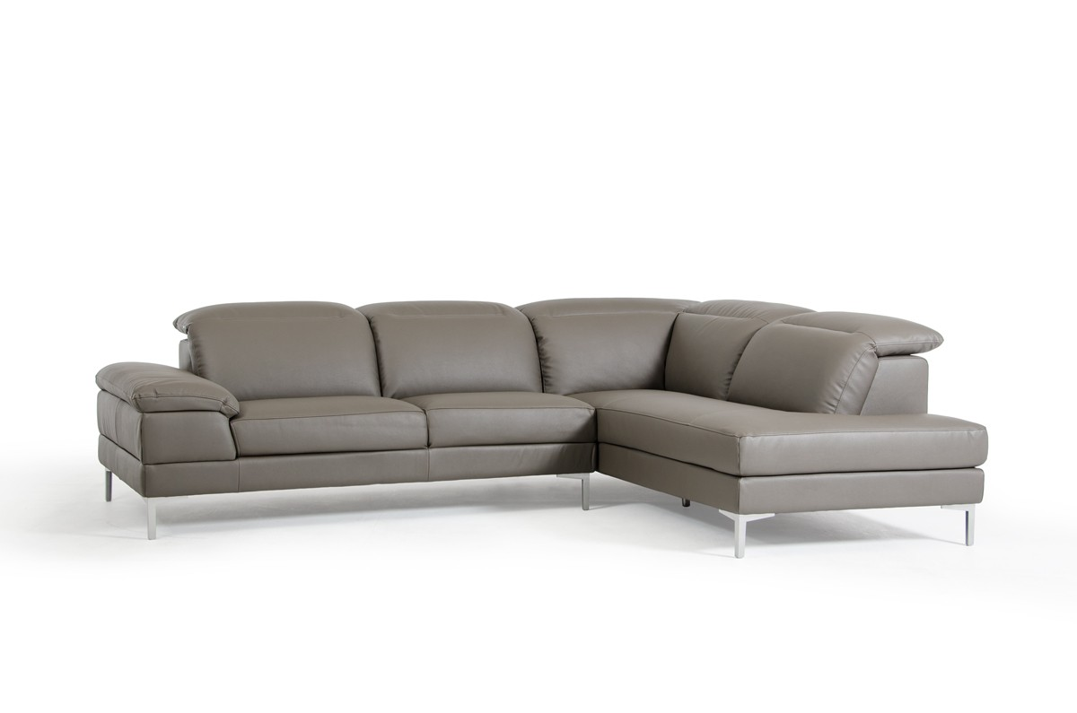 Divani Casa Carnation Modern Grey Eco Leather Sectional Sofa