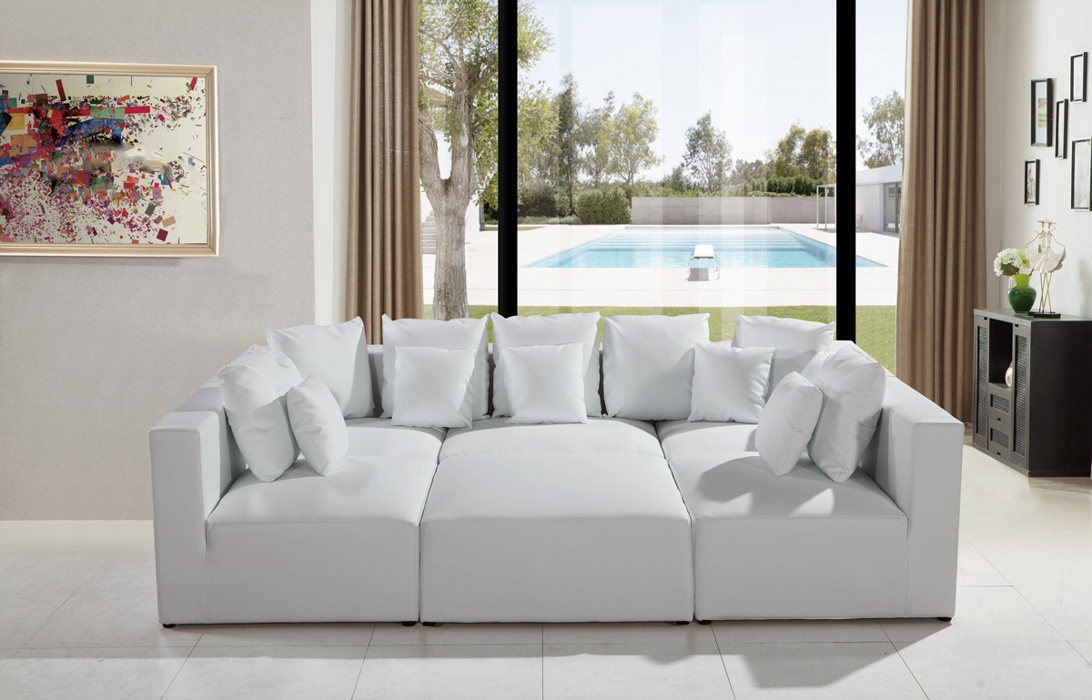 Divani casa 206 modern white bonded leather sectional sofa for Divani stoffa moderni