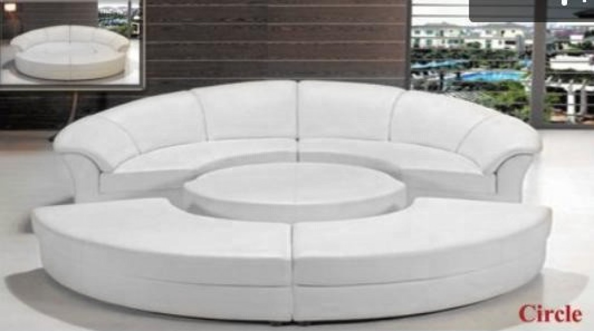 Modern White Leather Circular Sectional Sofa