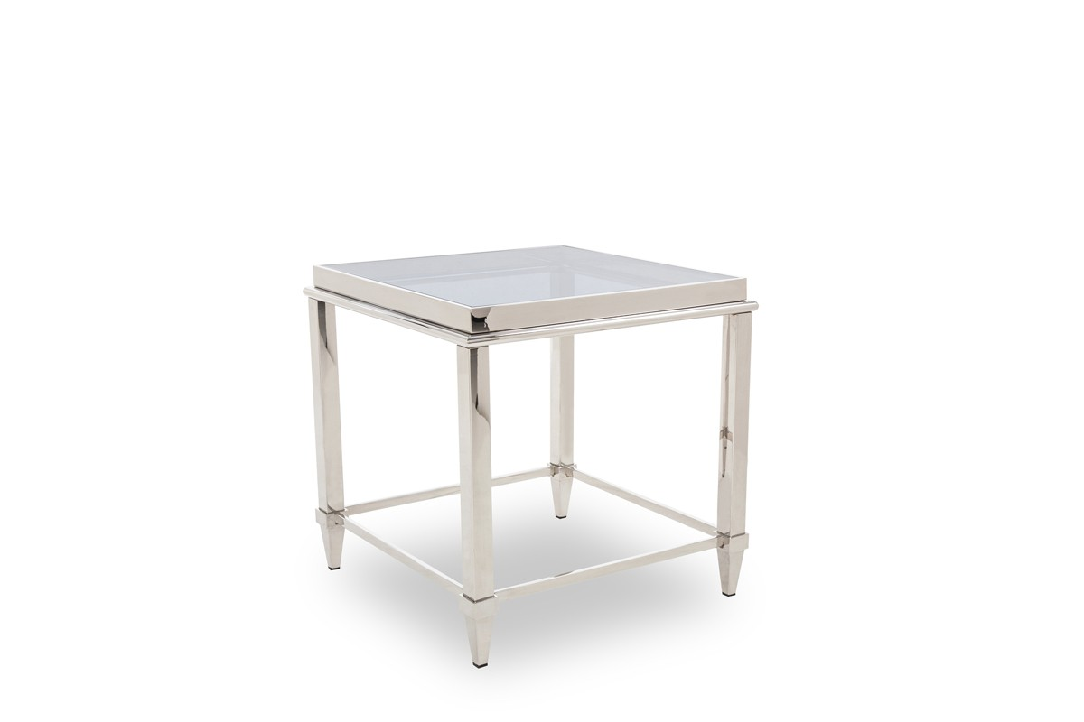 Modrest Agar Modern Glass U0026 Stainless Steel End Table ...