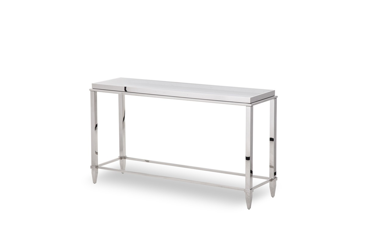 Modrest Agar Modern Glass Stainless Steel Console Table