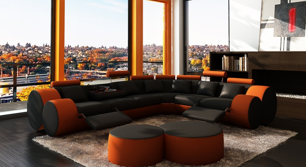 Marvelous Divani Casa 3087 Modern Black And Orange Bonded Leather Caraccident5 Cool Chair Designs And Ideas Caraccident5Info